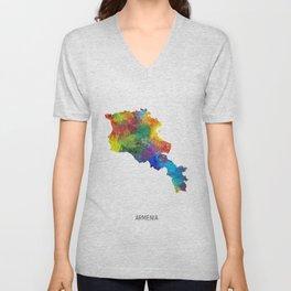 Armenia Watercolor Map Unisex V-Neck