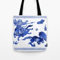 bouletcorp Tote Bags featuring Utahraptor Hunt by Bouletcorp