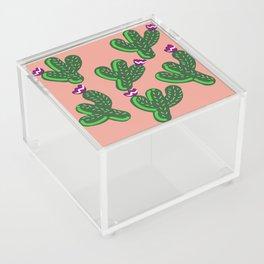 Prickly Cactus with Purple Flowers Acrylic Box