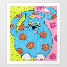 Blue Fat cat Art Print