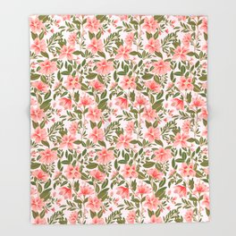 Pink Botanical Dream Pattern Throw Blanket