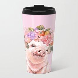Baby Pig with Flowers Crown Metal Travel Mug