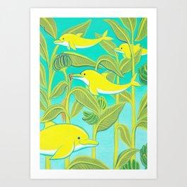 Lucky dolphins Art Print