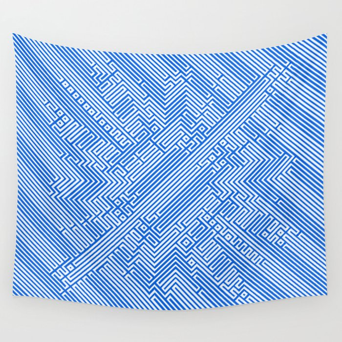 Optical Chaos 05 blue Wall Tapestry