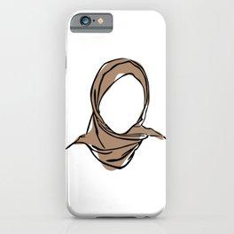 Hijab Woman 01, Single Line Art Colored Set iPhone Case