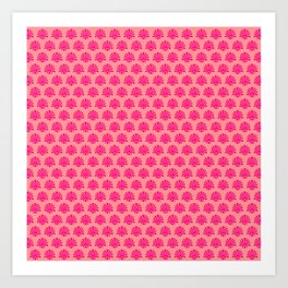 Floral ornament pattern. Red and pink Art Print