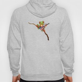 Tree Frog Playing Acoustic Guitar with Flag of The United States Hoody