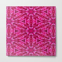 Pink Cabbage Rose Triangles 5072 Metal Print