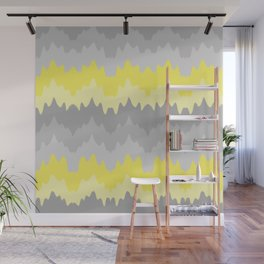 Yellow Grey Gray Ombre Chevron Abstract Zigzag Wall Mural