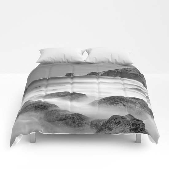 Water. Volcanic rocks. Monochrome Comforters