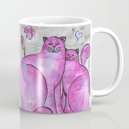 Pink Cats In Love Original Painting Coffee Mug