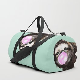 Bubble Gum Sneaky Sloth in Green Duffle Bag