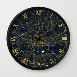 Johannesburg City Map of South Africa - Gold Night Light Wall Clock