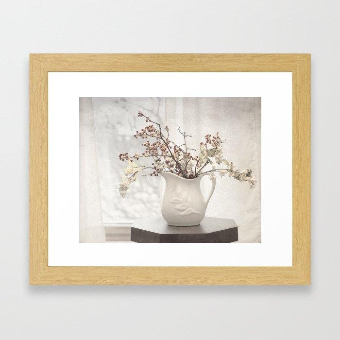 Berries in White Vase Framed Art Print