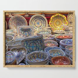 Colored Pottery Serving Tray