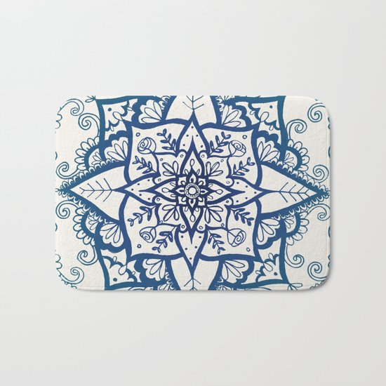 Blue Floral Pattern on Cream Bath Mat