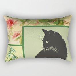 Patchwork Flowers and Cat Rectangular Pillow