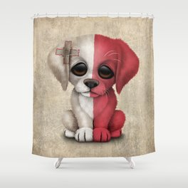 Cute Puppy Dog with flag of Malta Shower Curtain