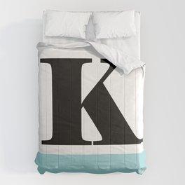 Monogram Letter K-Pantone-Limpet Shell Comforters