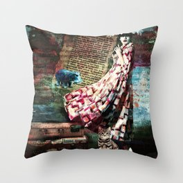 Cat, Woman and Hat Throw Pillow