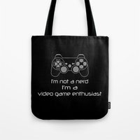 video game Tote Bags featuring Video Game Enthusiast  by bitobots
