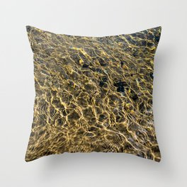 Gold Water Throw Pillow