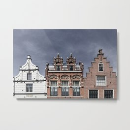 Old facades of canal houses in Alkmaar, The Netherlands Metal Print