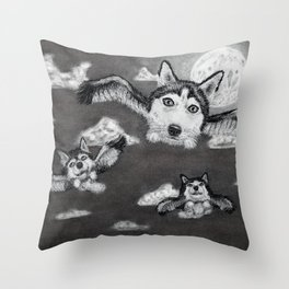 Flight of the Huskies - charcoal drawing Throw Pillow