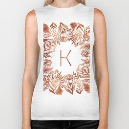 Letter K - Faux Rose Gold Glitter Flowers Biker Tank