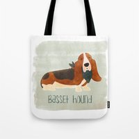 the hound Tote Bags featuring Basset Hound by 52 Dogs