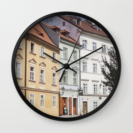 Buildings on a Cobblestone Street in Prague Wall Clock
