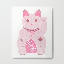 Chinese Lucky Kitty - Cute Pink Cat Metal Print