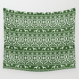 Vizsla fair isle green and white christmas holidays dog breed pet art dog pattern Wall Tapestry