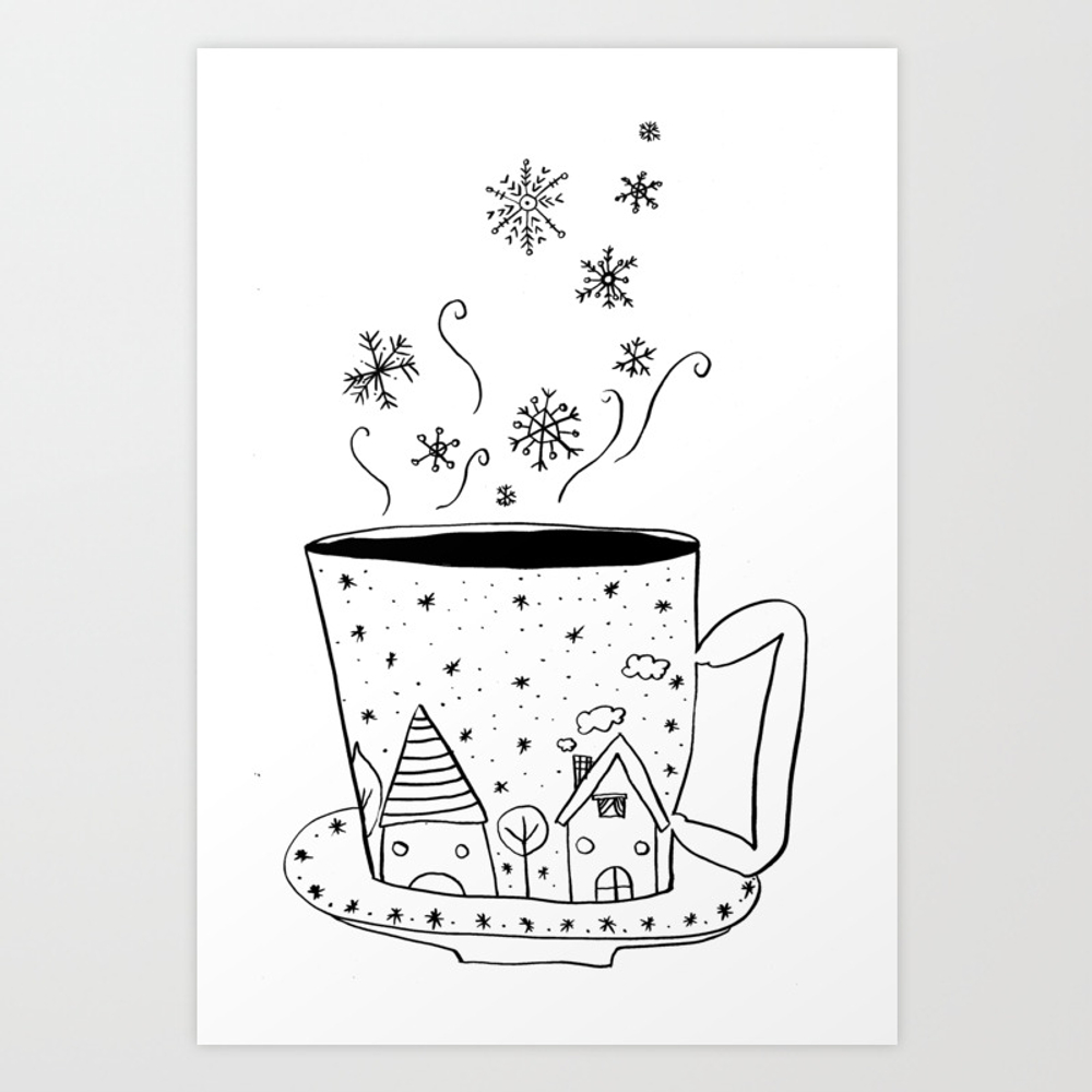 A Cup Of Snow Flakes Art Print by Shashirahandmaker PRN8249825