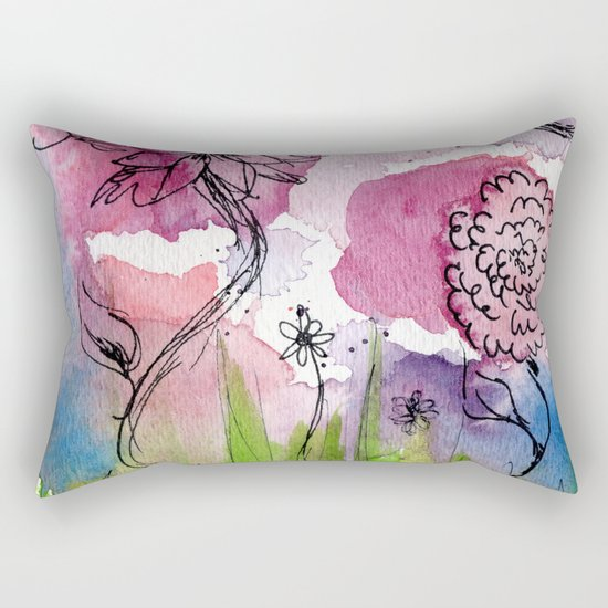 Throw Pillow Home Is Where The Doodle Is : Flower Doodle 3 Rectangular Pillow by Teeka s Treasures Society6