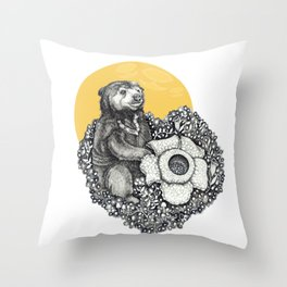 Honey Sun Bear Throw Pillow