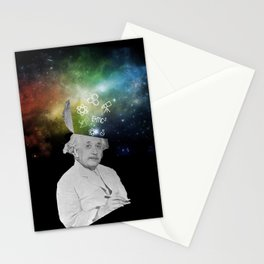 Albert Einstein With A Rainbow Galaxy Stationery Cards