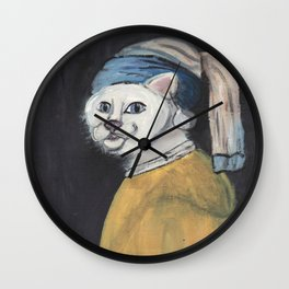 cat with a pearl earring Wall Clock