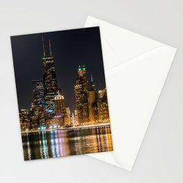 Chicago North Shore Skyline Night Stationery Cards
