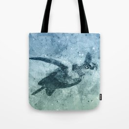 Geometric Flying Green Sea Turtle Tote Bag