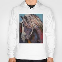 pony Hoodies featuring Highland Pony by Michael Creese