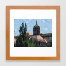 tree and a church Framed Art Print