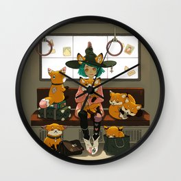 Witch and the magic foxes   Wall Clock