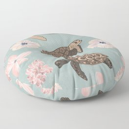 Sea Turtles, Plumerias and Hibiscus Flowers - Light Teal and Pink Floor Pillow