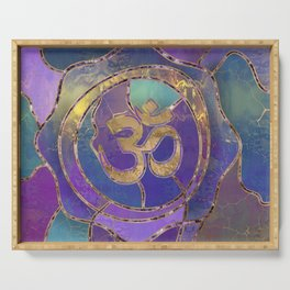 Om Symbol Golden and Paint texture Serving Tray