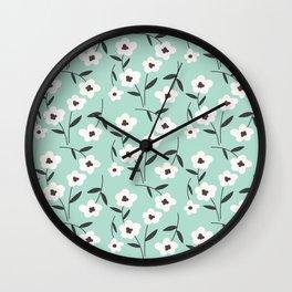 Black & White Floral   Aqua Wall Clock