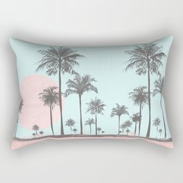 Beachfront palm tree soft pastel sunset graphic Rectangular Pillow