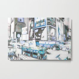 Times Square II (colour sketch style) Metal Print