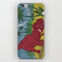 trex iPhone & iPod Skins featuring Trex-tra Cuddly by lindsey salles