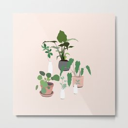 plant party in pink Metal Print